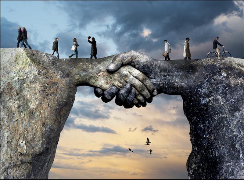 Hände reichen / Brücke