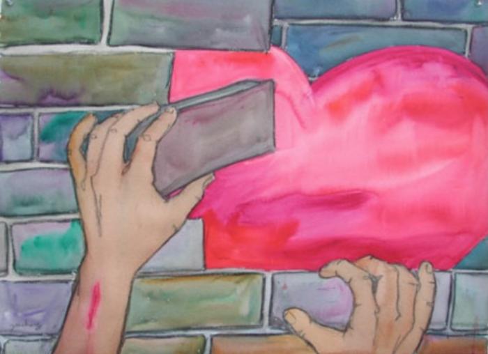 Mauer bauen Herz
